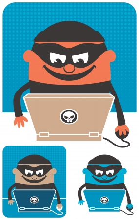 Criminal using computer to commit crime. The illustration is in 3 versions. No transparency and gradients used.  Vector