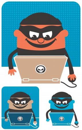 Penal que usa el ordenador para delinquir. La ilustración es en 3 versiones. Ninguna transparencia y gradientes usados. Ilustración de vector