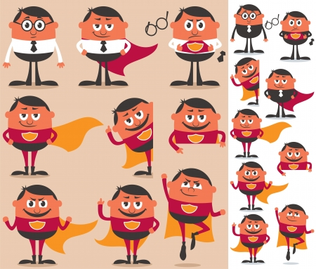 Businessman who is actually superhero in disguise. 9 different poses.  On the right is the same character adapted for white background.   Vector