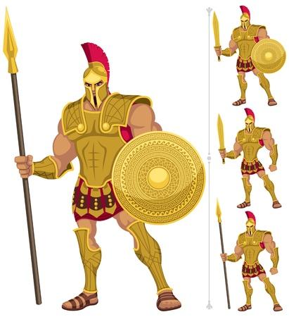 sparta: Griechischen Helden isoliert auf wei�. Auf der rechten Seite sind 3 weitere Versionen von ihm. Keine Transparenz und Farbverl�ufe verwendet. Illustration