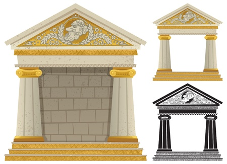 the temple: Cartoon Greek frame with copy space in it, to be used as frame. No transparency used. Basic (linear) gradients.
