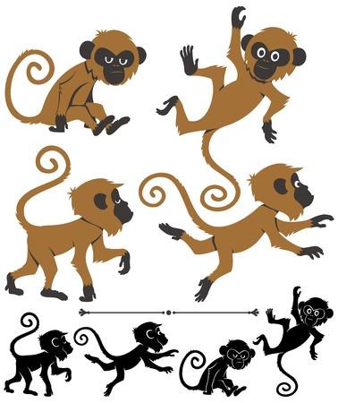 mono caricatura: Cartoon monkey en 4 diferentes poses Vectores