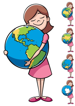 Little girl hugging the Earth over white background. On the right are 4 more versions, differing by the shown part of the Earth.  Vector