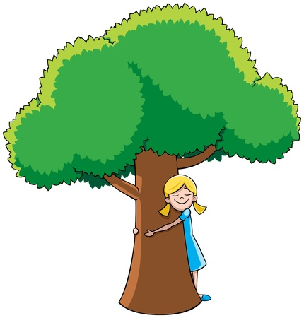 Little girl hugging tree.  No transparency and gradients used.  Vector