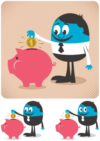 Man saving money in piggy bank.  Vector