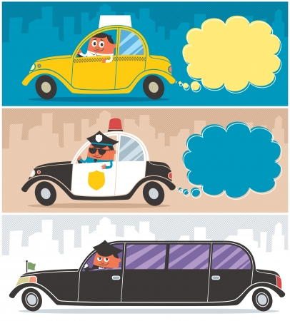 Taxi, police car and limousine, and their drivers. No transparency and gradients used.  Stock Vector - 15844835