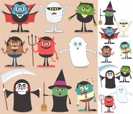 Collection of Halloween characters. On the right are the same characters adapted for white background.  No transparency and gradients used.  Vector