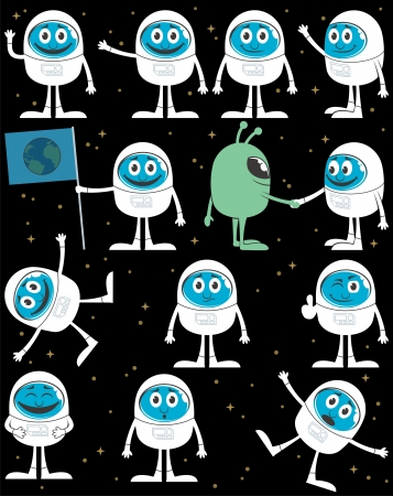 Cartoon astronaut in 12 different situations. No transparency and gradients used.   Stock Vector - 15998435