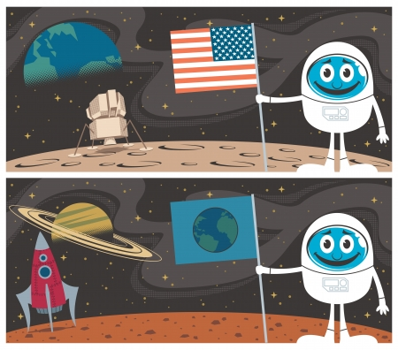 space suit: Cartoon illustrations of the Moon Landing and Mars Landing.  No transparency and gradients used.