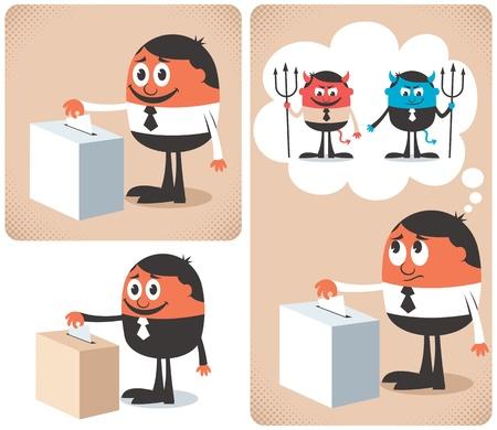 encuestando: Hombre votación en urna.