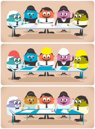 Groep professionals ontmoeten en plannen. De illustratie is in 3 verschillende versies voor verschillende beroepen. Vector Illustratie