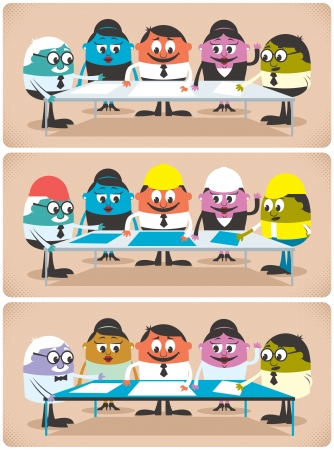 Group of professionals meeting and planning. The illustration is in 3 different versions for different professions.