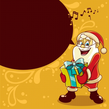 Santa, wishing you Merry Christmas and giving you Christmas present. No transparency and gradients used.  Stock Vector - 16081465