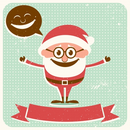 Vintage Christmas card with Santa Claus and copy space for your text.  No transparency and gradients used.  Stock Vector - 16161667