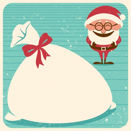 Vintage Christmas card with Santa Claus. Place your text on his sack. No transparency and gradients used.  Vector