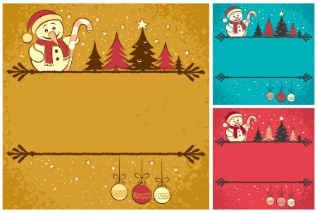 Christmas card with snowman, Christmas tree, baubles and copy space for your text  It is in 3 color version   No transparency and gradients used   Illustration