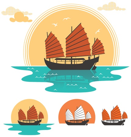 vietnam: Illustration of junk boat at sunset. Below are 3 additional simplified variations.  No transparency and gradients used.  Illustration
