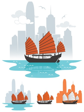 Illustration of junk boat in Hong Kong. Below are 3 additional simplified variations.  No transparency and gradients used.  Vector