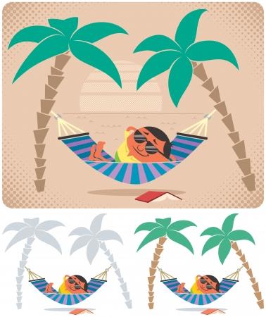 hamaca: Hombre que se relaja en hamaca. La ilustraci�n es en 3 versiones. Ninguna transparencia y gradientes usados.