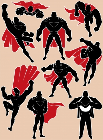 comic book: Superhero silhouette in 9 different poses  No transparency and gradients used