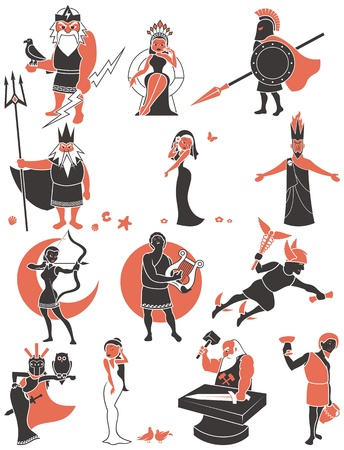 Set of Greek   Roman gods over white background  No transparency and gradients used   Vector