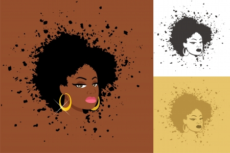 Sexy lady with abstract Afro hairstyle  The illustration is in 3 versions  No transparency and gradients used    Vector