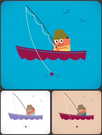 Cartoon character in boat fishing. No transparency and gradients used. Stock Vector - 17204327