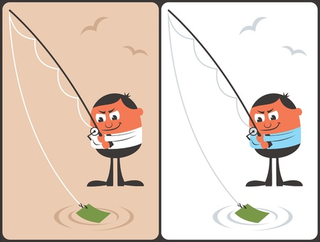 Businessman Fishing Concept Vector