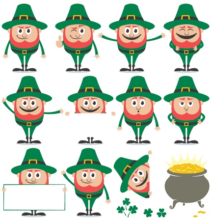 Leprechaun in 11 different poses and his pot of gold over white background. Vector