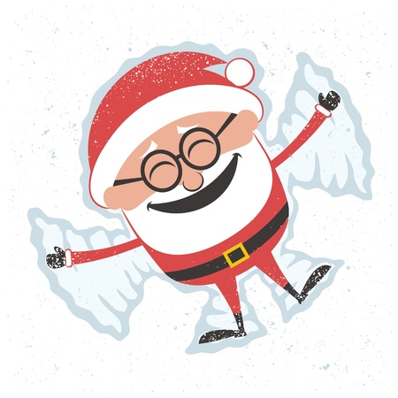 Christmas card with Santa Claus making snow angel. No transparency and gradients used. Stock Vector - 17299384