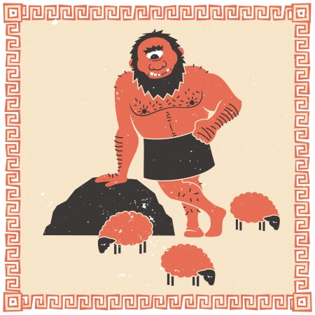 The Cyclops Polyphemus (who captured Odysseus) with his flock of sheep.  Stock Vector - 17420525