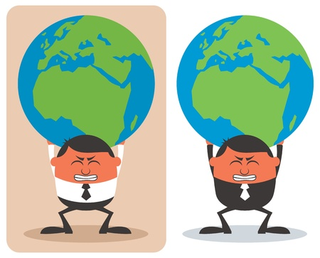 world class: Conceptual illustration of businessman holding planet Earth on his shoulders.