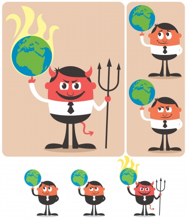 middle finger: Conceptual illustration of cartoon character playing with planet Earth. Illustration