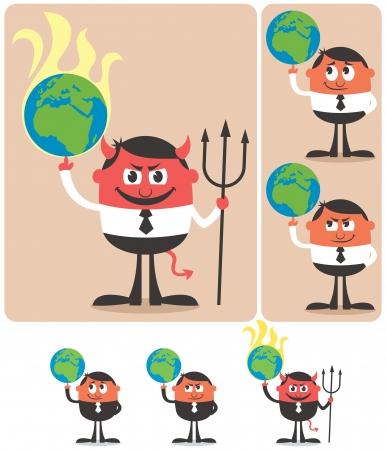 middle class: Ilustraci�n conceptual del personaje de dibujos animados que juega con el planeta Tierra.