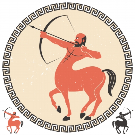 roman mythology: Centaur shooting an arrow  Two additional smaller versions over white background are included   Illustration