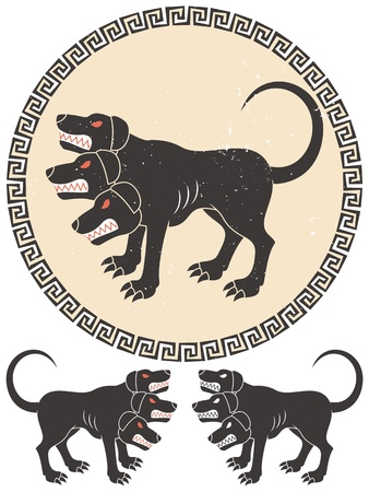 Stylized illustration of Cerberus  2 additional versions over white background below