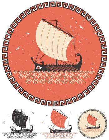 warship: Stylized illustration of ancient Greek ship in 4 different versions