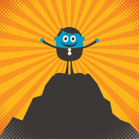Conceptual illustration for success, depicting character on top of mountain.