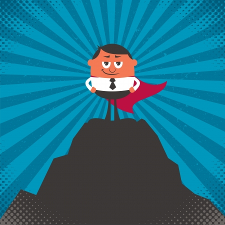 Conceptual illustration for business success, depicting character on top of mountain. Illustration