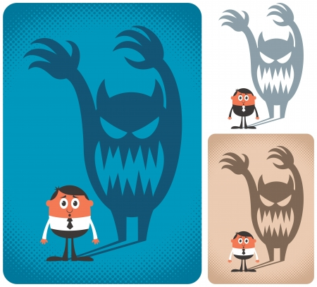 haunted: Man haunted by his shadow. The illustration is in 3 versions.