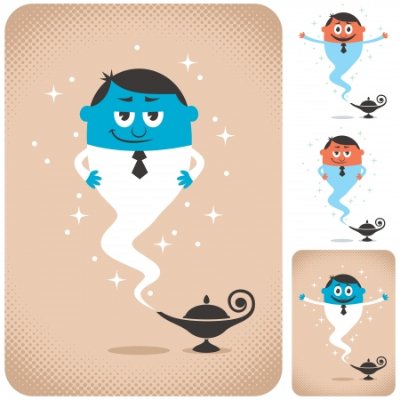 Genie coming out of magic lamp. The illustration is in 4 different versions.  Illustration