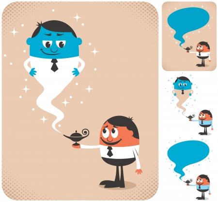 genio de la lampara: Hombre de negocios llamando genio para que le ayuden. La ilustración es en 4 versiones diferentes.