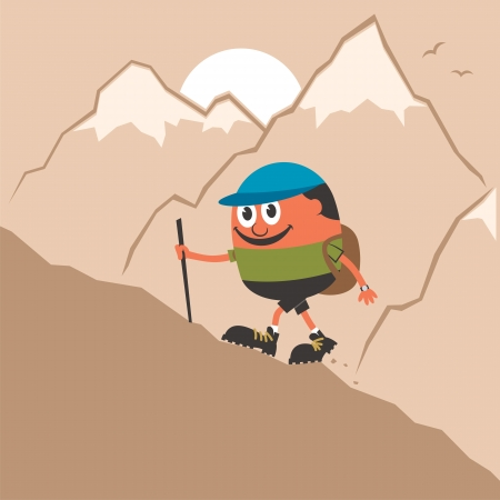 snowcapped landscape: Cartoon Character climbing mountain slope. No transparency and gradients used.