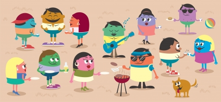 Happy people having barbecue outdoors. No transparency and gradients used. Vector
