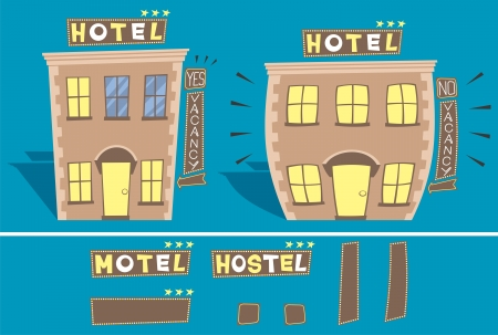 Cartoon illustration of small hotel in 2 versions: with and without free rooms.  You can edit the signs. No transparency and gradients used.  Illustration