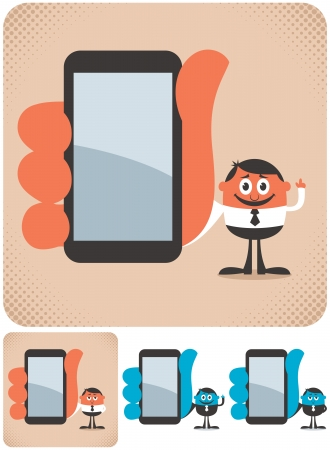 cellphone in hand: Businessman showing you something on his smartphone  The illustration is in 4 versions   No transparency and gradients used  Illustration