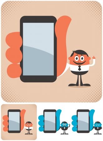 smartphone mano: Uomo d'affari mostrando qualcosa sul suo smartphone L'illustrazione � in 4 versioni No trasparenza e gradienti utilizzati