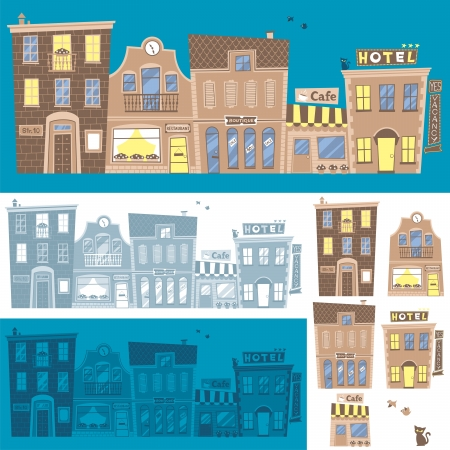 Street background in 3 color versions. You can also use each building separately.  Illustration