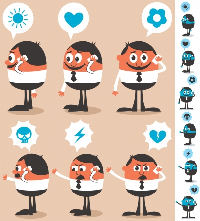 Businessman talking on his smart phone. He is in 12 different versions. No transparency and gradients used. Illustration