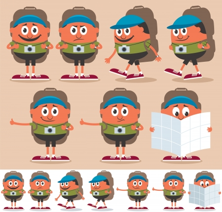 Cartoon backpacker in 7 different poses, each in 2 color versions. No transparency and gradients used. Illustration